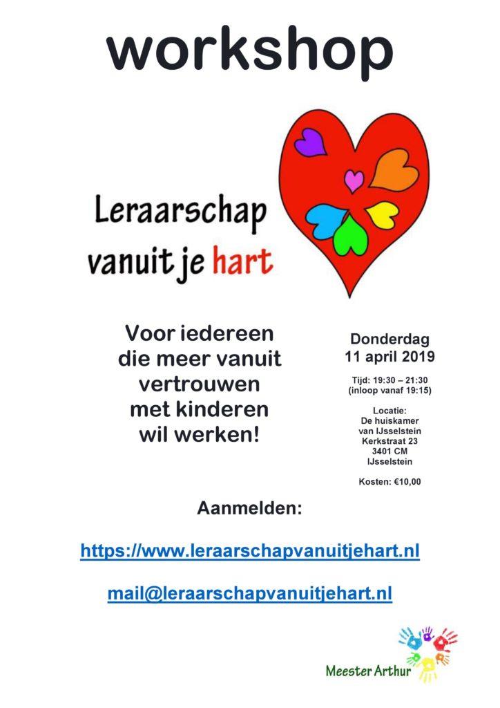 Poster voor de workshop 'leraarschap vanuit je hart'
